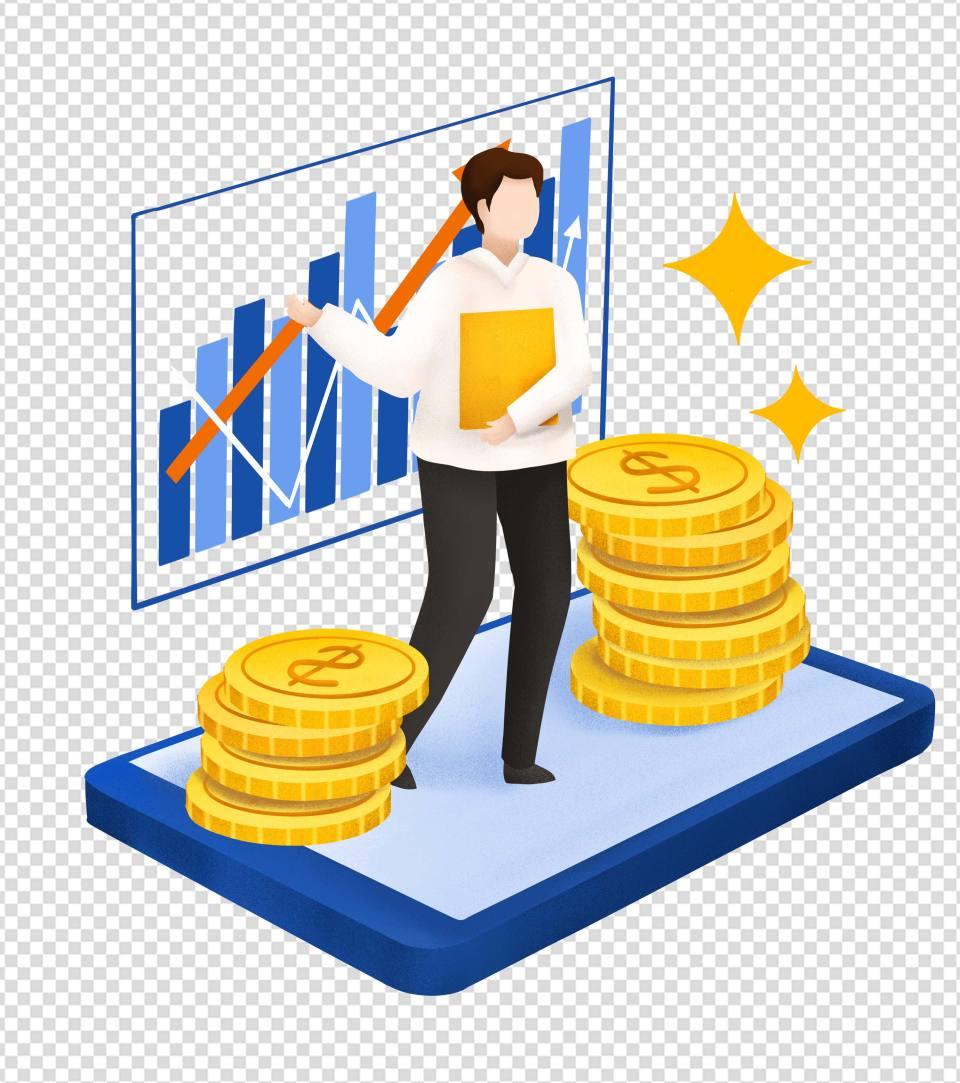 卡通蓝色文件货币商业计划手绘元素