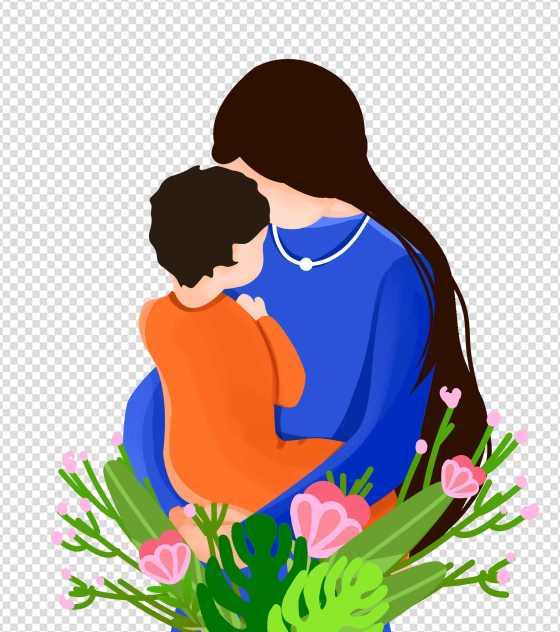卡通鲜花母子母亲节元素