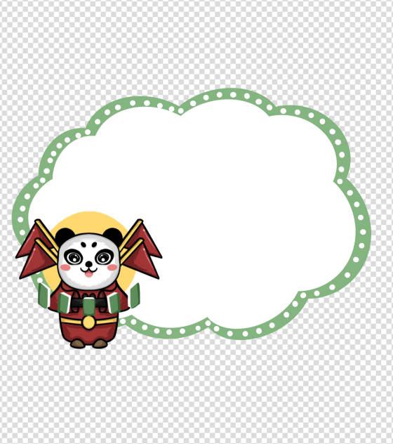 卡通绿色熊猫京剧背景元素
