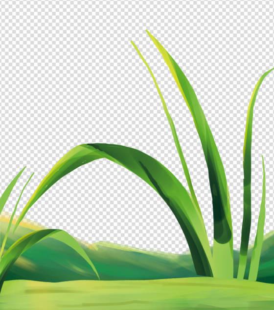 卡通绿色小草手绘元素
