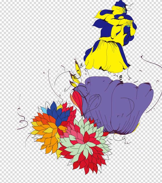 简约鲜花装饰手绘元素