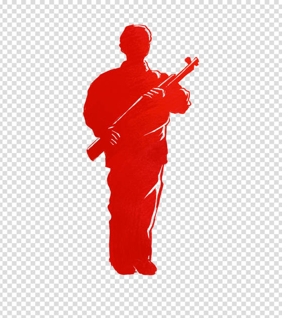 简约红色军人剪影手绘元素