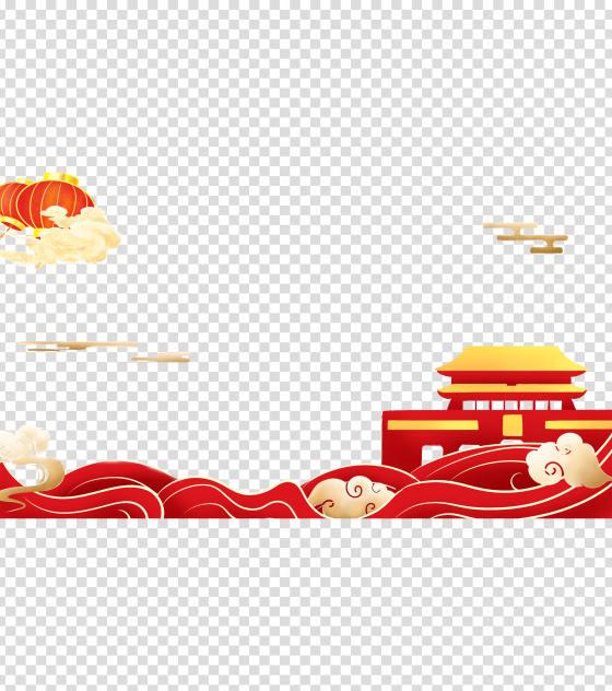 卡通红色天安门灯笼元素