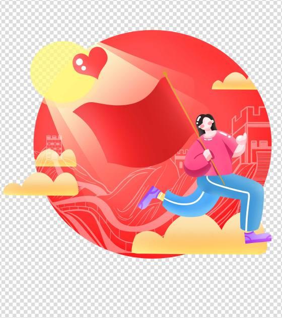 卡通红色长城红旗建党手绘元素