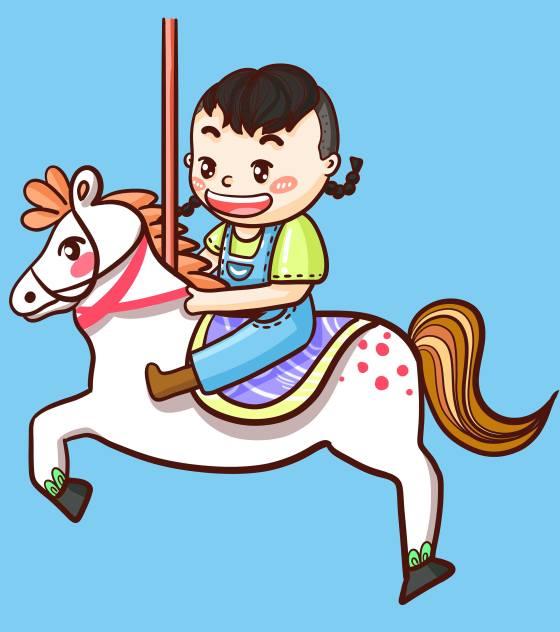 卡通蓝色可爱旋转木马儿童节元素