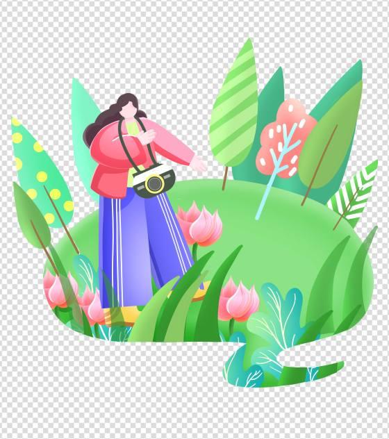 卡通绿色女孩旅游拍照元素