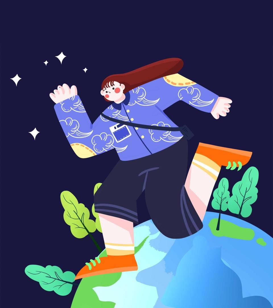 卡通蓝色女孩地球日手绘元素