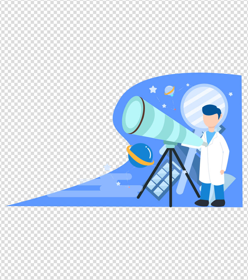 卡通蓝色望远镜男人科学自然元素