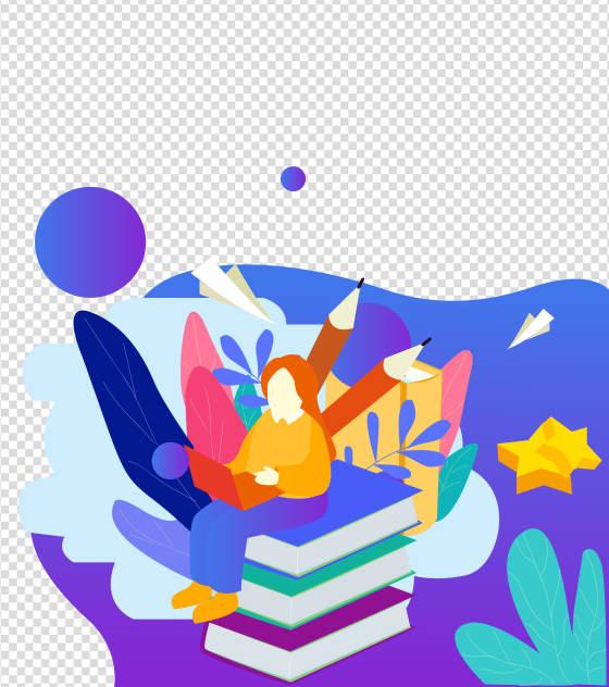 卡通蓝色教育书本元素