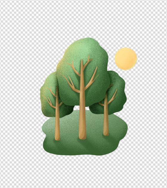绿色太阳树木元素