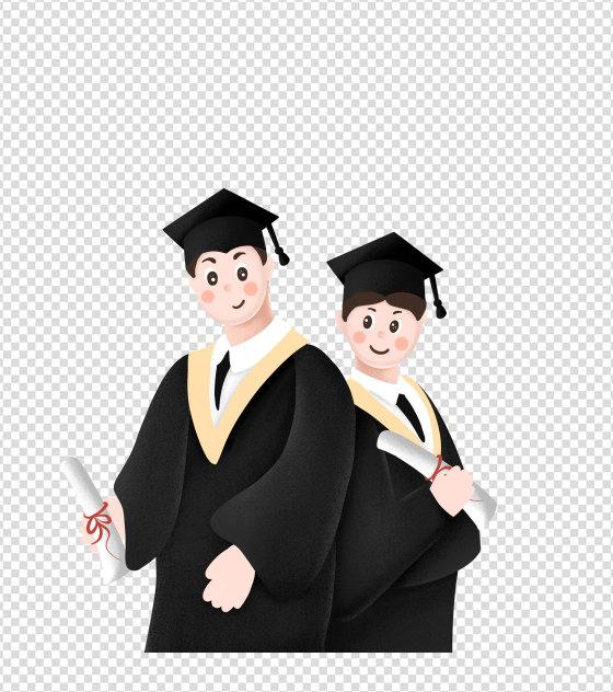 卡通毕业男孩手绘元素