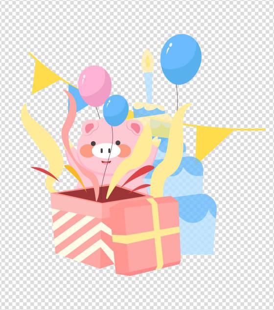 卡通小猪气球蛋糕生日元素