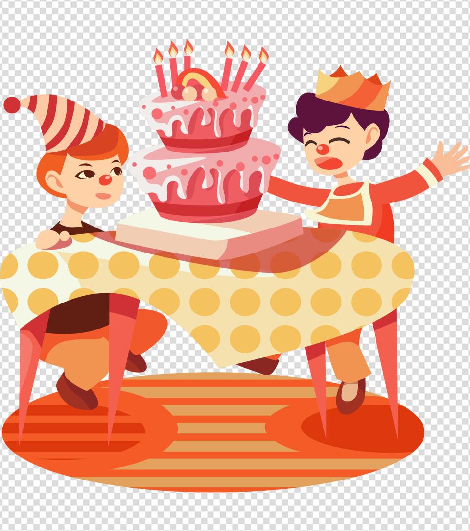 卡通小丑男孩蛋糕生日元素