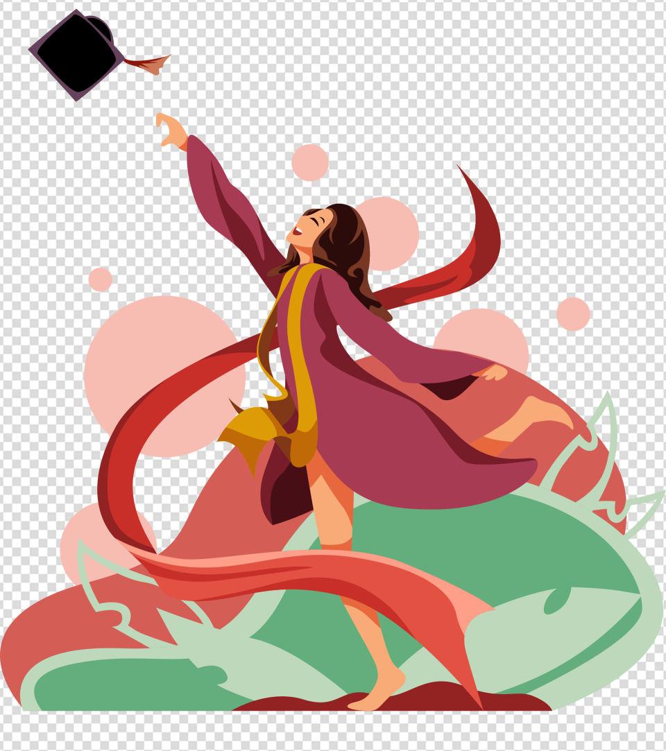 女孩扔帽子毕业答辩元素