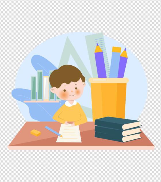 蓝色学生作业集元素