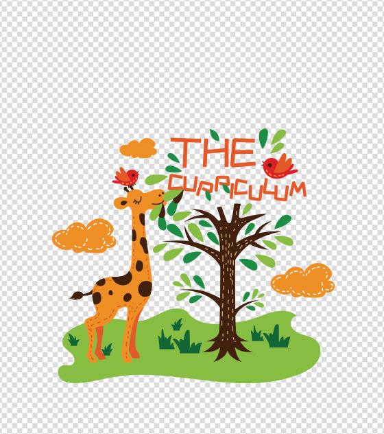 卡通动物园长颈鹿元素