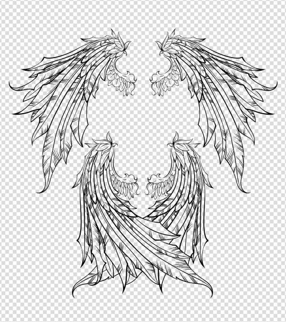 复古羽毛翅膀元素