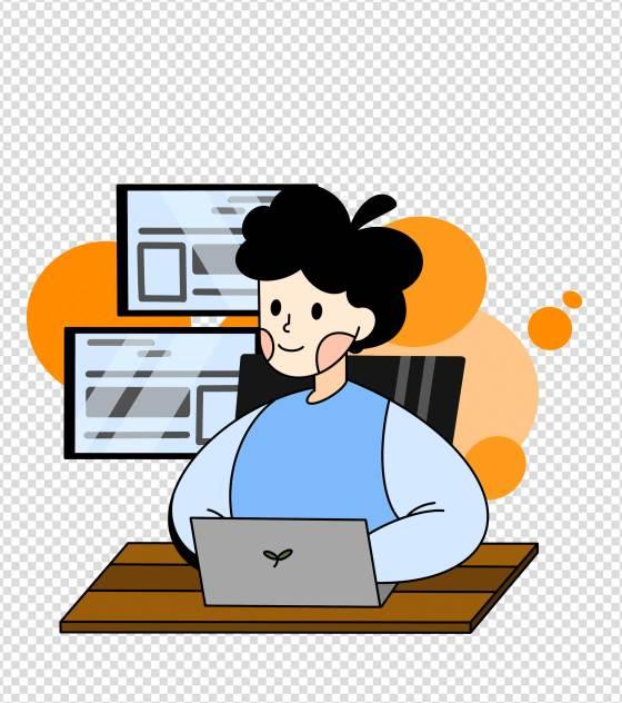 电脑桌前工作的女人元素