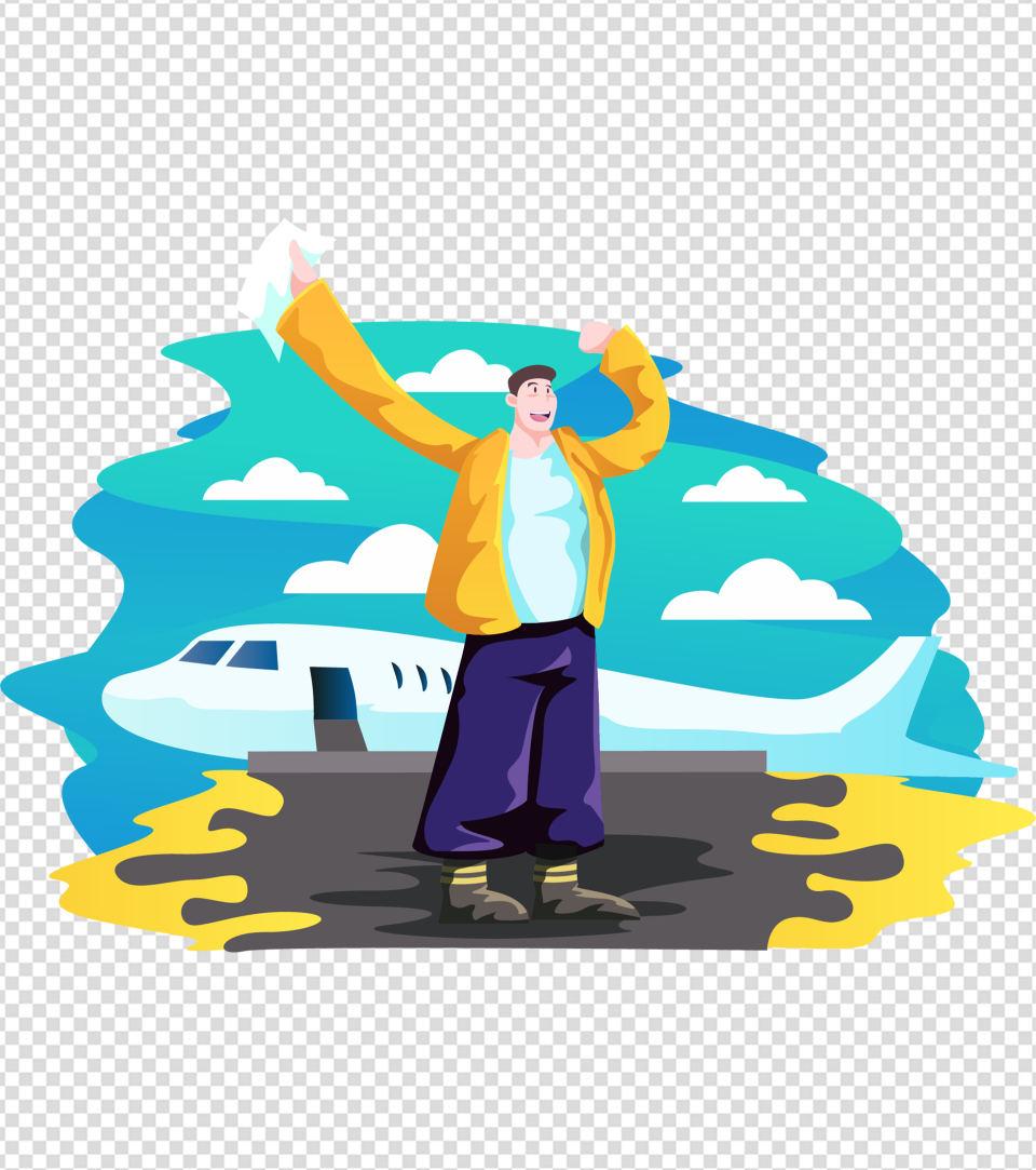 飞机下挥手男孩元素