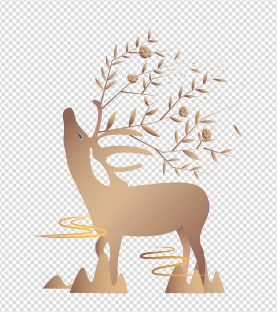 金色仰望天空麋鹿元素