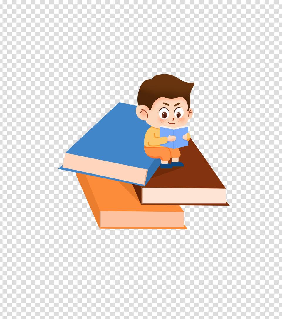 蓝色卡通男孩读书手绘元素