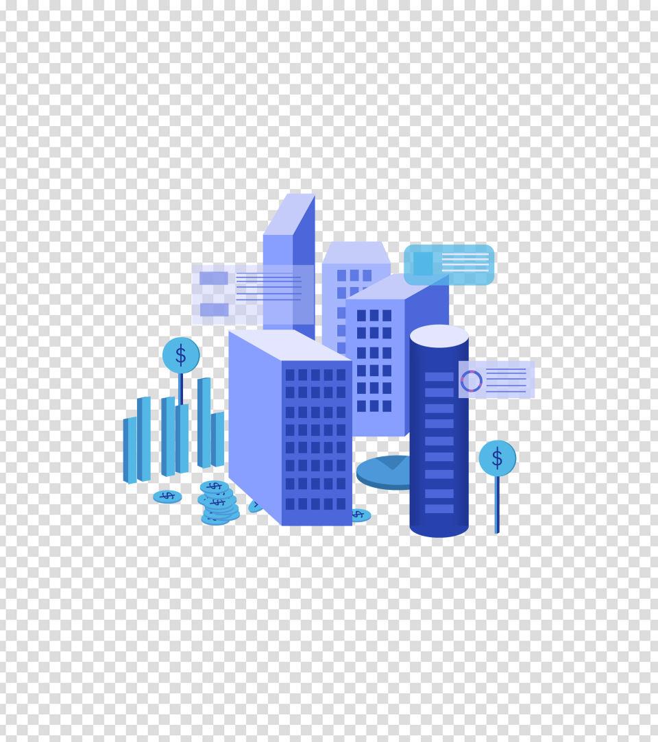 蓝色卡通建筑手绘元素