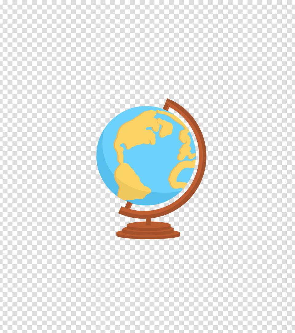 蓝色卡通地球仪元素