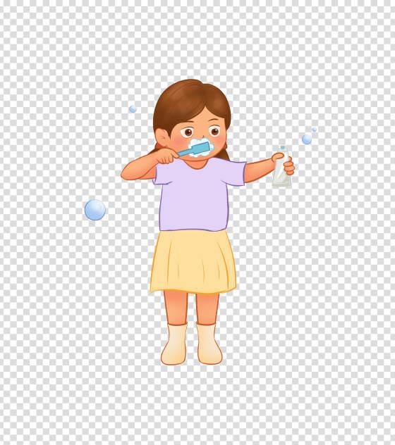 卡通刷牙的小女孩手绘元素