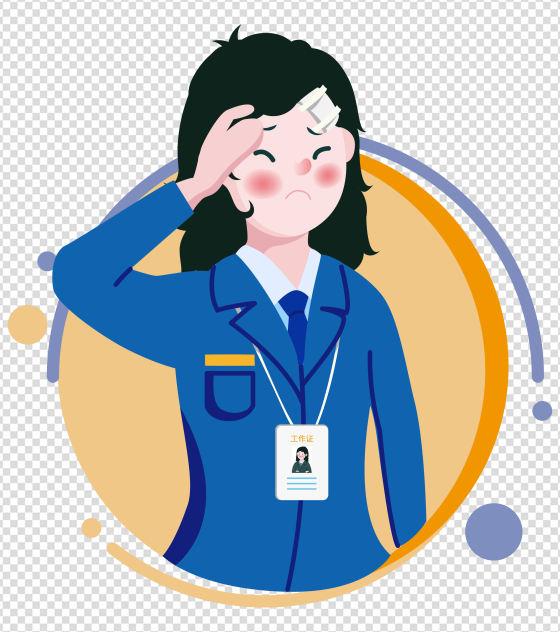 2000x2000px_小清新ppt元素原创受伤女职员