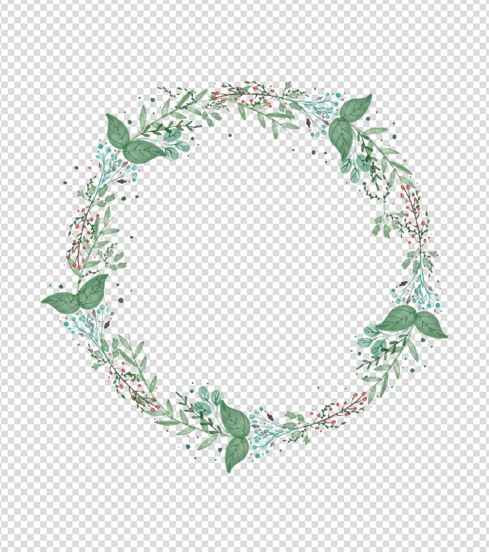 400x400pt_绿色水彩风花环