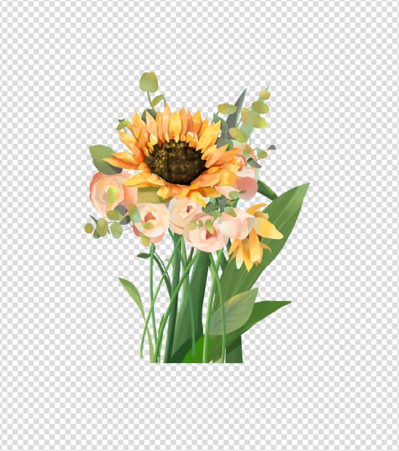 2362x2362pt_ppt原创向日葵花束素材