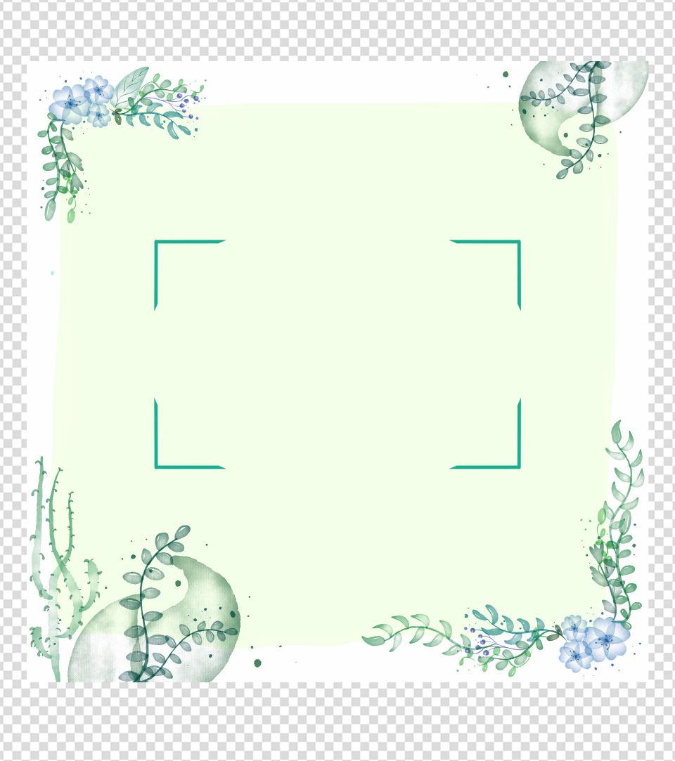 400x400pt_绿色小清新水彩边框