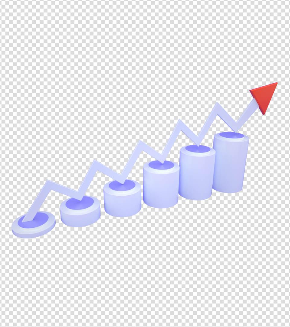 商务ppt元素系列3D办公业绩上升曲线