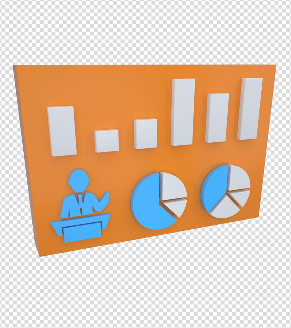 商务ppt元素系列3D流行统计表格