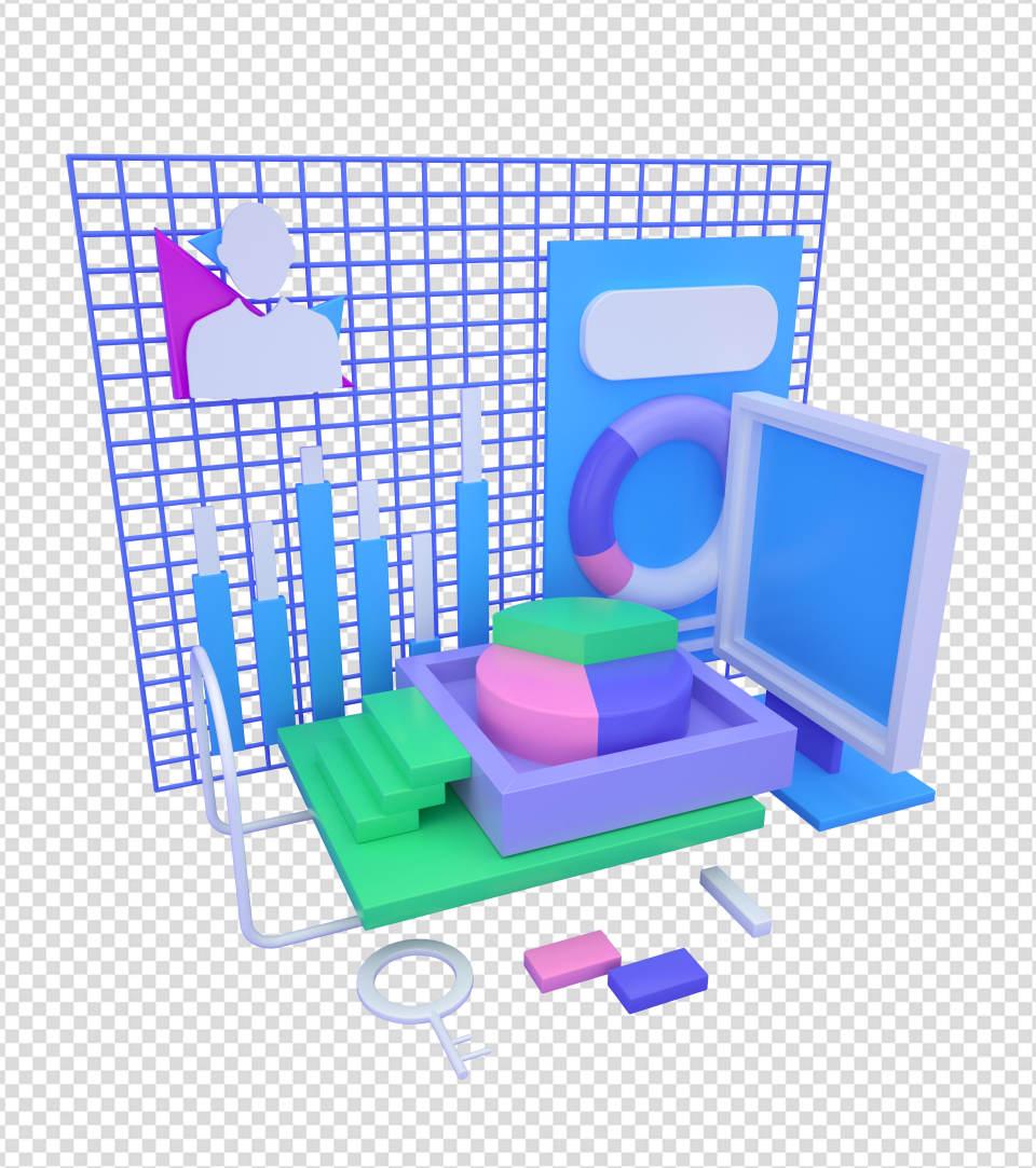 商务ppt元素系列3D办公电脑表格