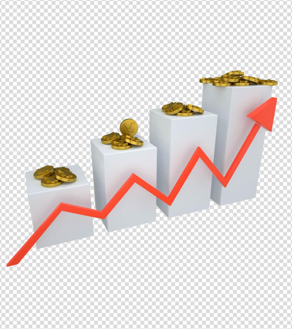 商务ppt元素系列3D上升的金币