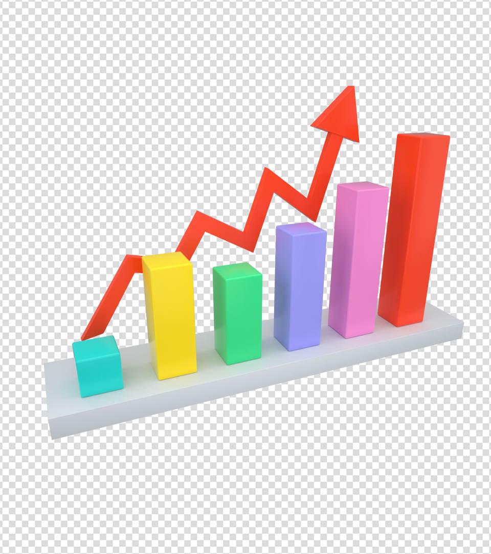 商务ppt元素系列3D上升的统计表