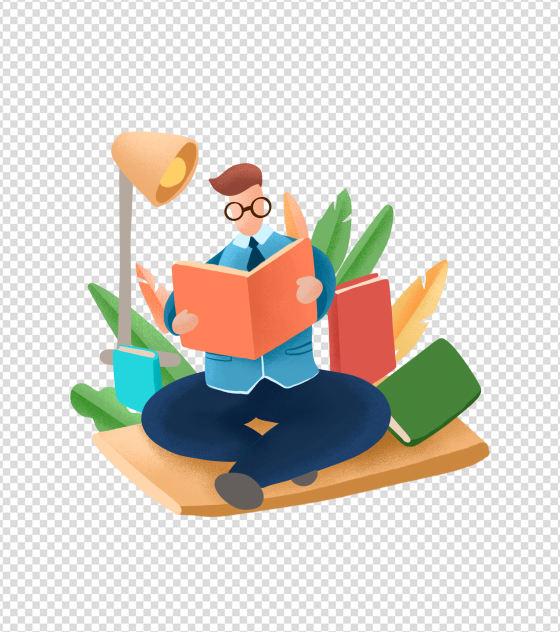 3800x3800px_小清新ppt元素原创看书的男人