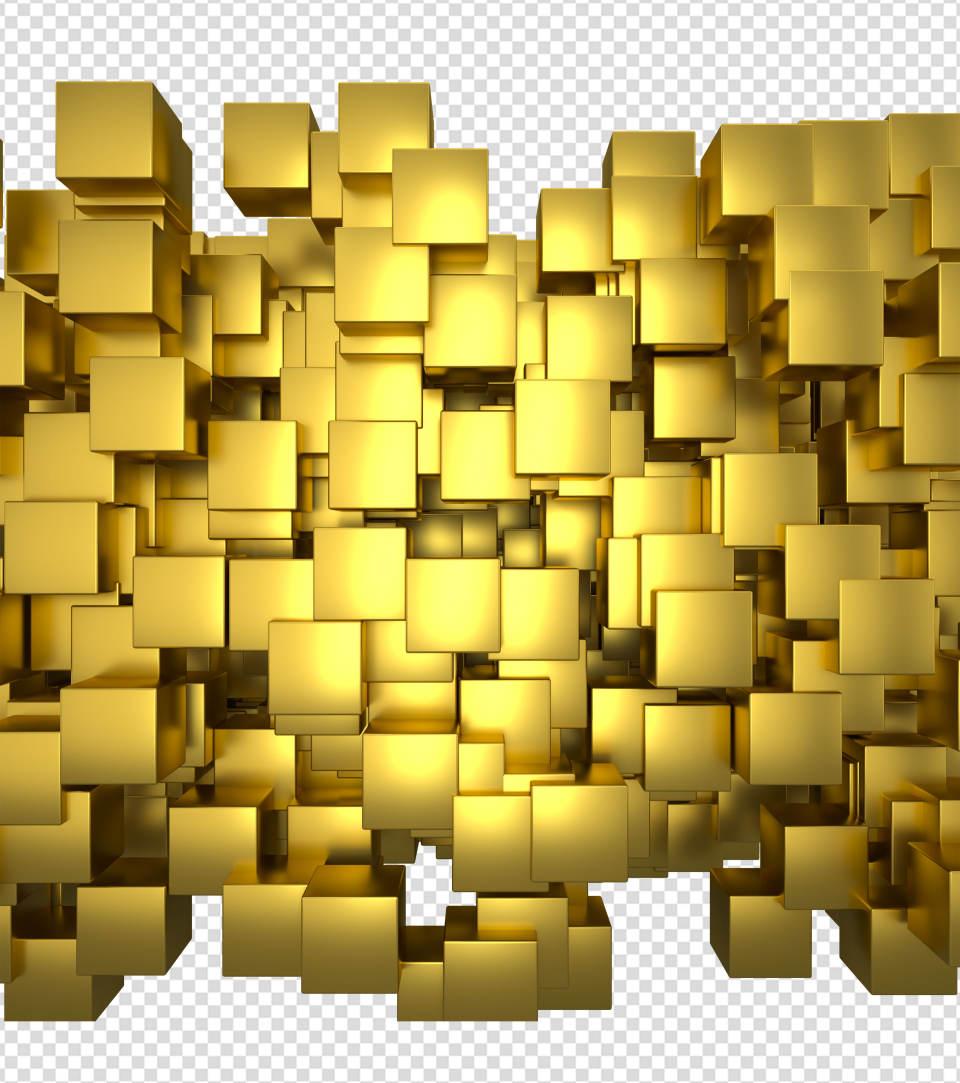 商务ppt元素系列3D随机金色方块