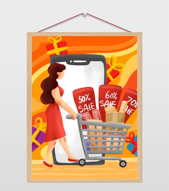 4961x6732px_创意双十一海报元素原创购物的女人