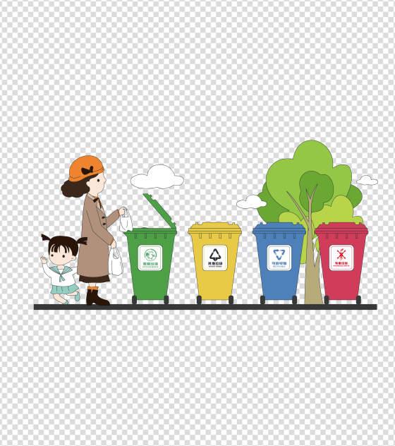 绿色环保垃圾分类元素