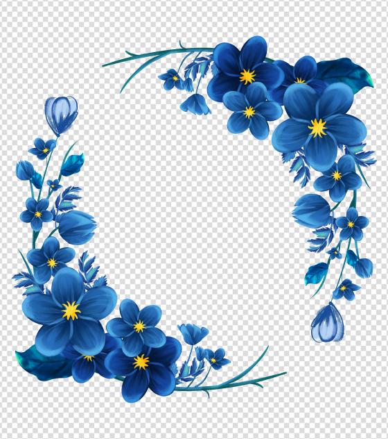 ppt元素原创蓝色花朵花环边框