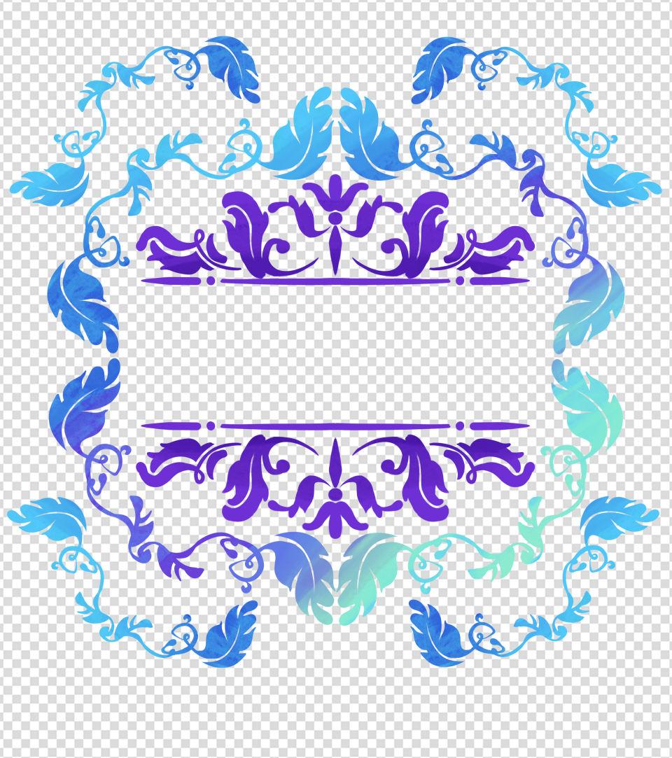 紫色花边框