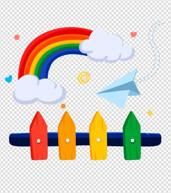 原创小清新彩虹围栏元素