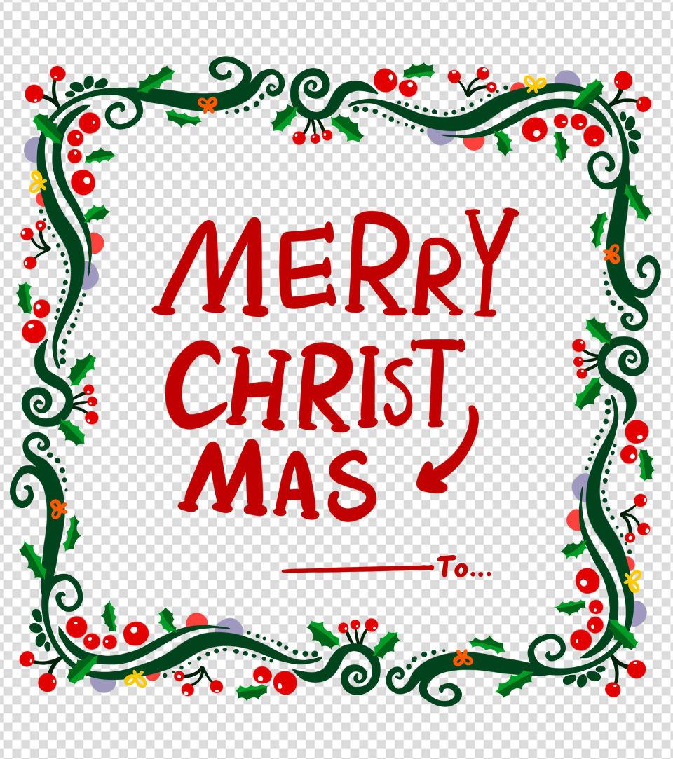原创圣诞节花环边框