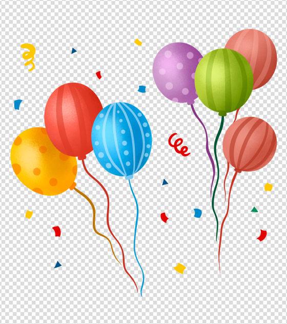 原创手绘彩色气球元素