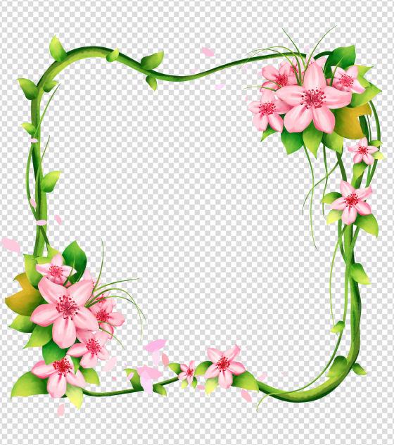 粉色花边框