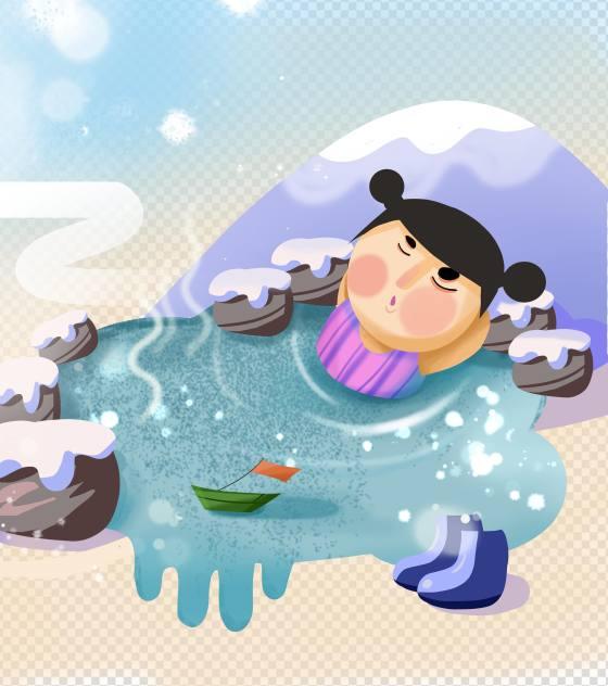 手绘小雪泡温泉小女孩