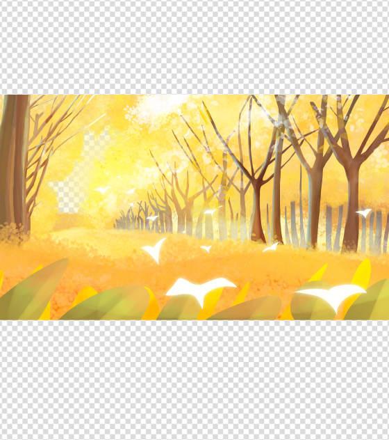 手绘银杏叶图案