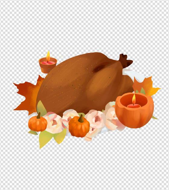 手绘感恩节吃火鸡